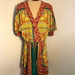 Nine West BeautifulOrange/yellow/green satin dress